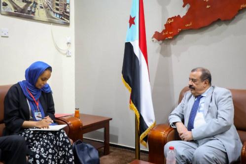 اللواء بن بريك يلتقي المديرة القطرية لمكتب منظمة نداء جنيف